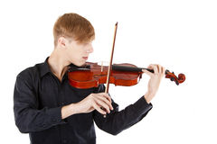 Image boy playing the violin. On white Royalty Free Stock Photo