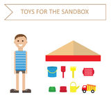 Image of a boy in a striped shirt, and toys for the sandbox-style flat. Outdoor games for children. Toys for the sandbox. Stock Photography