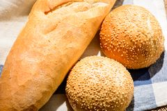 Image of bread loaf and buns Stock Images
