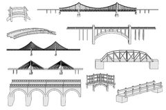 Image of bridges set Royalty Free Stock Image