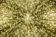 Golden and Silver Sparkles in Starbust Background stock photography