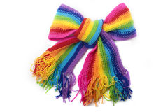 The image of a bright rainbow knitted scarf Stock Image