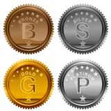Bronze Silver Gold Platinum Award Coins. An image of a Bronze Silver Gold Platinum Award Coins icon set isolated on white stock illustration