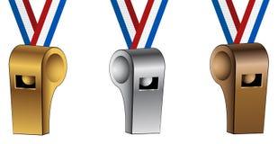 Bronze Silver Gold USA Ribbon Lanyard Whistles Stock Image