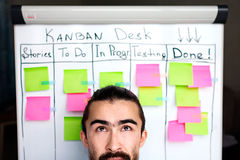 Image of brooding or success project manager background kanban board desk. Royalty Free Stock Photos