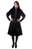 Image of brunette in black fake fur coat Royalty Free Stock Images