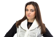 Image of the brunette in fake fur waistcoat Royalty Free Stock Photo