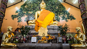 Image of  Buddha with bodhi tree background. Wat phai ngean thailand Royalty Free Stock Photo