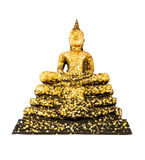 Image of Buddha with gold leaf isolated on white background Stock Photos