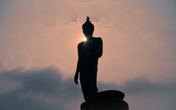 Image of Buddha. Silhouette Image of Buddha with sunlight Stock Photography