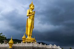 Image Of Buddha. Statue At Rain Clouds Background Royalty Free Stock Photography