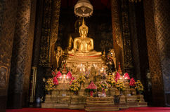 Image of Buddha in Wat Bowonniwet Vihara. Wat Bowonniwet Vihara Rajavaravihara is a major Buddhist temple (wat) in Phra Nakhon district, Bangkok, Thailand. The Stock Photography