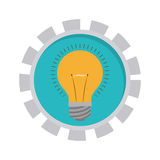 Image with bulb light in toothed circle. Vector illustration Stock Photo
