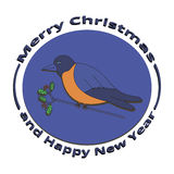 Image Bullfinch on Christmas and New Year. On a white background Royalty Free Stock Images