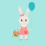 Image bunny girl with basket Royalty Free Stock Image