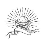 Image with burger. Fast food image with burger and rays Stock Photography