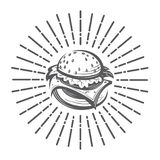 Image with burger. Fast food image with burger and rays Stock Photos