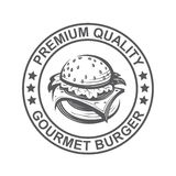 Image with burger. Fast food image with seal of burger Royalty Free Stock Photography