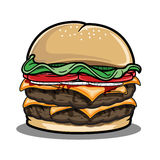 Image of burger for lunch. Illustration of big burger for lunch Royalty Free Stock Photo