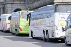 Image of a bus in the center of Stockholm Stock Photography