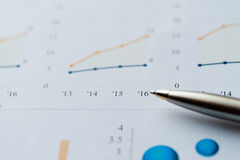 Image of business analysis, chart, graph, and pen Stock Photography