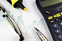 An image of a business concept with calculator, pen and glasses. Abstract Stock Photos