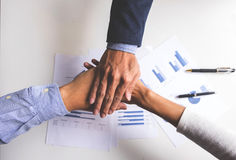 Image of business, Concept of Teamwork people joining hands Stock Photos