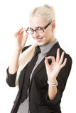 Image of the business girl. In glasses Stock Photography