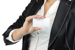 Image of business lady holding visit card Royalty Free Stock Images