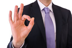 Business man showing ok sign. Royalty Free Stock Photos