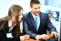 Image of business partners discussing documents Stock Photos
