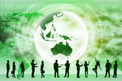 Image of business people silhouettes and Earth Royalty Free Stock Images