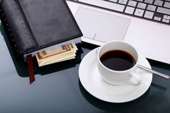 Business breakfast at workplace Royalty Free Stock Photography