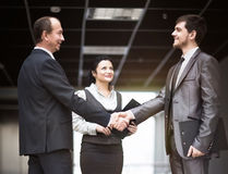 The image of a business team discussing latest financial results fixing the deal with a handshake. The image of a business team discussing latest financial Stock Photo
