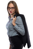 Image of business woman looking down Royalty Free Stock Image