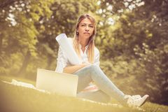 Image of business woman at nature. Middle age women royalty free stock photos