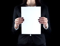 Image of business woman with paper sheet Royalty Free Stock Photo