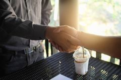 Image businessman handshake. Successful handshake after good Royalty Free Stock Photos