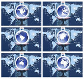 6 image of businessman holding on globe for each continent Royalty Free Stock Photos