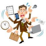 A businessman panicked by a lot of work vector illustration
