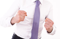 Businessman punching the air. Royalty Free Stock Photography