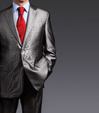Image of businessman in suit over gray background Stock Photos