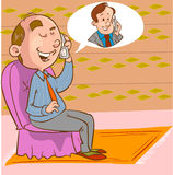 An image of a businessman talking on a phone line drawing Royalty Free Stock Image