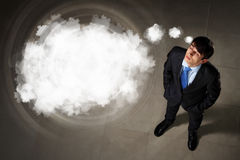 Image of businessman top view. Top view of young businessman making decision with place for text Royalty Free Stock Photo