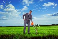 Image of businessman watering money tree Royalty Free Stock Image
