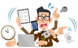 A Businessman wearing glasses and jacket panicking too busy. The image of A Businessman wearing glasses and jacket panicking too busy royalty free illustration