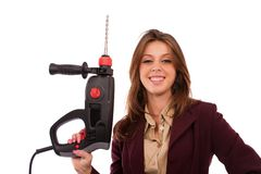 Image of a businesswoman with drilling machine Royalty Free Stock Photography