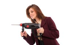 Image of a businesswoman with drilling machine Royalty Free Stock Images