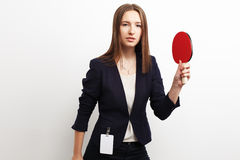 Image of businesswoman playing tennis over white Stock Photography