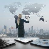 Image of businesswoman pushing icon on media screen Stock Photo